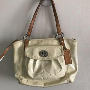 COACH Cream Leather All Over Logo Handbag